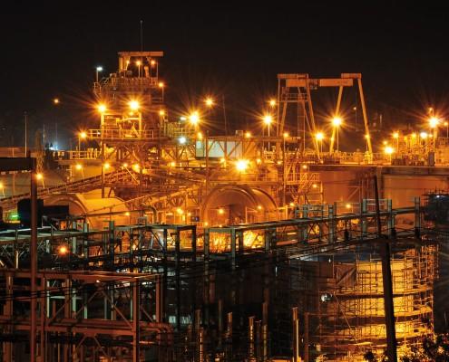 Chatree processing plant at night